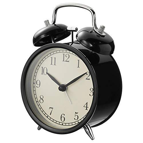 SIU Reloj Despertador Negro, tamaño montado, Ancho: 10 cm, Profundidad: 6 cm, Altura: 14 cm, Materiales: Marco de Reloj: Acero protección Frontal: Cristal