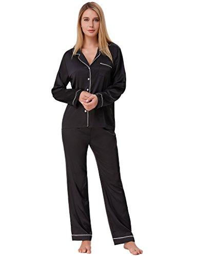 Women Pajamas Sets Plus Size Button Front Top Sleepwear Black Size XXL ZE52-1