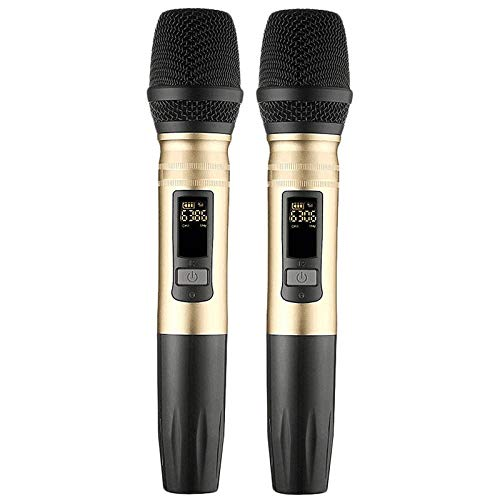 JVCAN 2 stks/set draadloze microfoon systeem, handheld led microfoon uhf speaker met draagbare usb ontvanger voor ktv dj spraakversterker