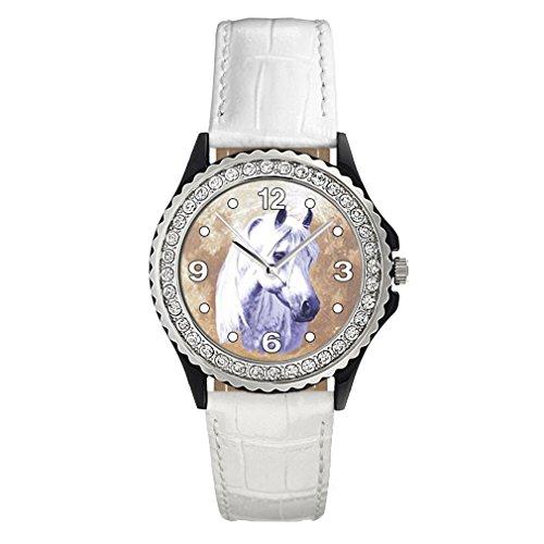Timest - Caballo Blanco - Reloj del Cuero Blanco para Mujer con piedrecillas Analógico Cuarzo CSG0038w
