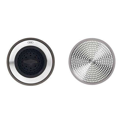 OXO Good Grips 2-in-1 Sink Strainer Stopper,Black,Sink Strainer with Stopper & Good Grips Easy Clean Shower Stall Drain Protector - Stainless Steel & Silicone
