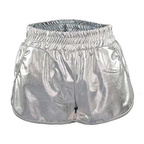 SIMYJOY Homecoming Party Summer Yoga Sports Dancing Hot Shorts Shorts metálicos Brillantes con Cintura elástica para Mujeres y niñas Plata L