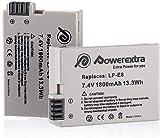 Powerextra 2 X Batería de Repuesto LP-E8 1800mAh Reemplazon Batería Rercargable para LP E8 Rebel T3i T2i T4i T5i EOS 600D 550D 650D 700D Kiss X5 X4 Kiss X6 LC-E8E