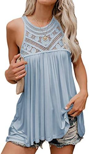 Dokotoo Women s Fashion Summer Tank Tops Halter Round Neck Crochet Lace Hem Basic Cami Shirts product image