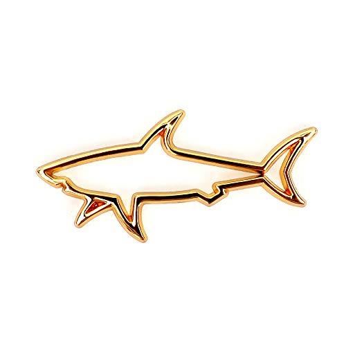 HTTY Metal Pescado tiburón Placa Placa Insignia Logotipo Pegatina Pegatina Coche Estilo Lateral Puerta Ventana Tronco Tronco Creativo Ajuste Accesorios universales (Color Name : Gold Fish Sticker)