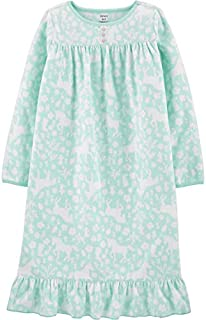 Image of Carter's Mint Green Fleece Unicorn Print Nightgown for Girls - See More
