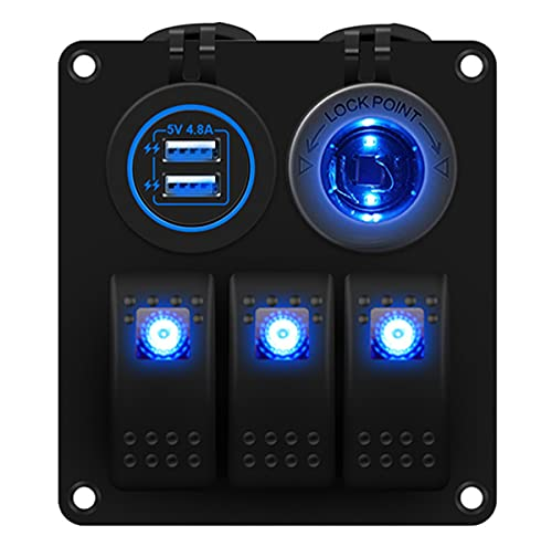 AIHOUSE 3 Panel De Interruptores De Rocker Gang, Rocker De 12V / 24V COCHER Cambia con El Encendedor De Cigarrillos con Cargador USB De 4.2A para El Camión De RV Marino,Azul