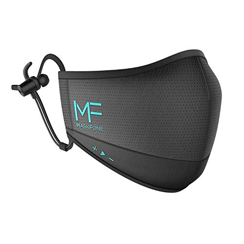 Hubble MaskFone - Face Protection with Wireless Headphones & Mic, 4 Layer Filter System, Volume Control - 12H Battery Life, IPX5 Waterproof - Alexa Compatible - Size M/L