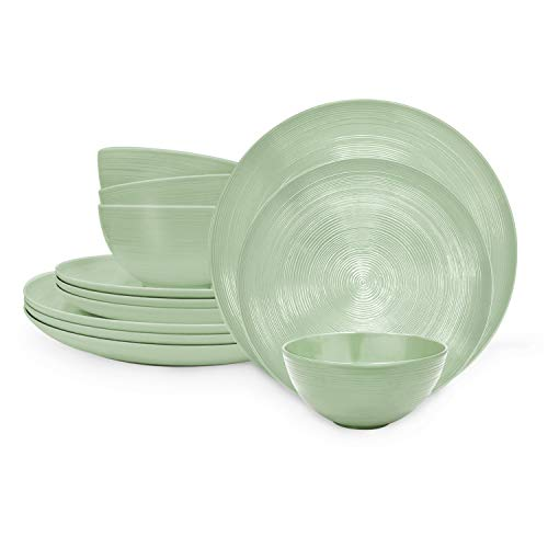 Zak Designs American Conventional Melamine Dinnerware Set Includes Dinner Plates, Salad Plates, and Individual Bowls, Durable and BPA Free (Sage, 12-Piece Dinnerware Set, Service for 4)