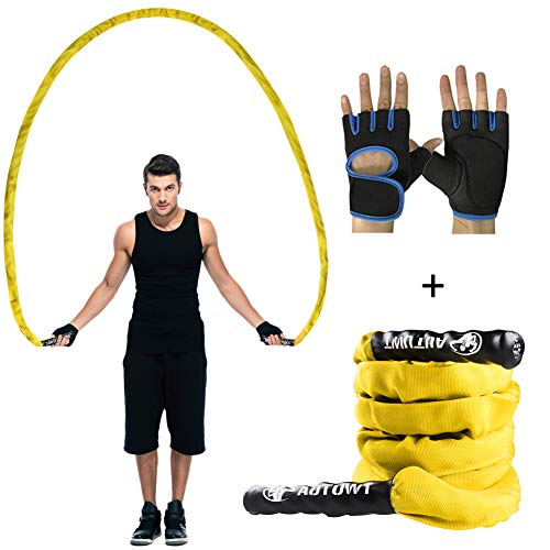 AUTUWT Heavy Jump Rope with Protective Sleeve,Adult Weighted Jump Rope Skipping Rope Workout Battle Ropes with Gloves for Men Women Total Body Workouts Power Training Building Muscle (1 Inch,9.2 Feet)