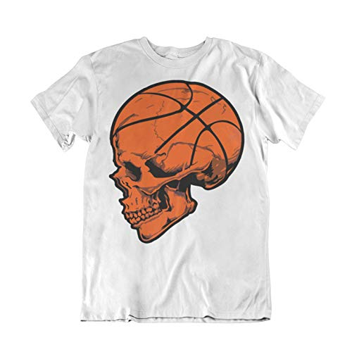 WALLSHIRT T-Shirt Uomo Basket NBA Teschio - Bianco - L