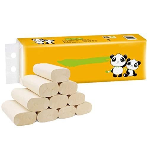 Papieren rollenhanddoeken, 12 rollen vier lagen natuurlijke kleur bamboe celstof rollenpapier celstofrolpapier snel oplosbaar toiletpapier, rolbadkamerweefsel, natuurlijke bamboegezichtsdoeken
