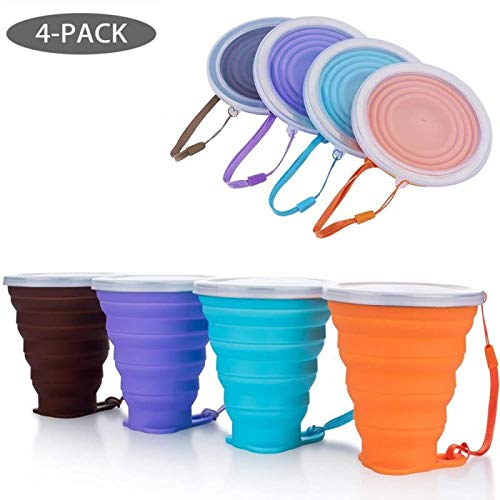 IYYI Faltbarer Silikon-Reisebecher mit Deckel für Outdoor-Camping, Wandern, 260 ml, BPA-frei (Kaffee-lila-blau-orange)