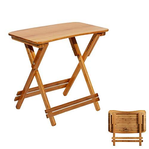 soges Mesa auxiliar plegable, mesa de balcón, mesa de jardín, mesa plegable de bambú, mesa de estudio, escritorio, altura regulable y plegable, 70 x 39 x (62 – 78) cm