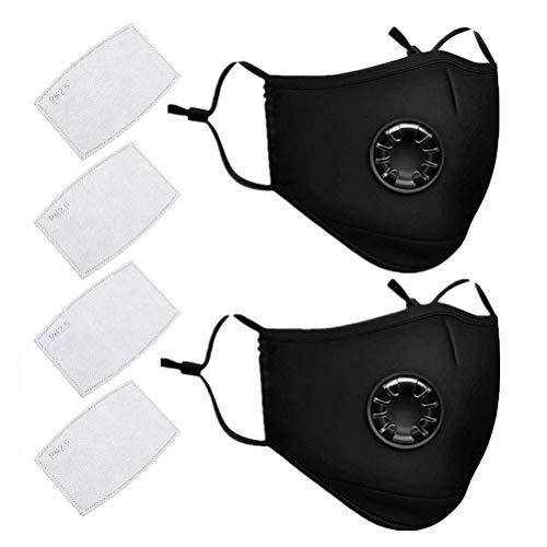 Schutzstufe, N95, FFP2, Outdoor Anti-Staub-Maske, wiederverwendbar, PM 2,5 Anti-Staub-Masken, waschbar, Anti-Haze Gesichtsmaske Schutzmaske Atemschutzmaske mit Filter-Baumwoll-Blatt(2, Schwarz)