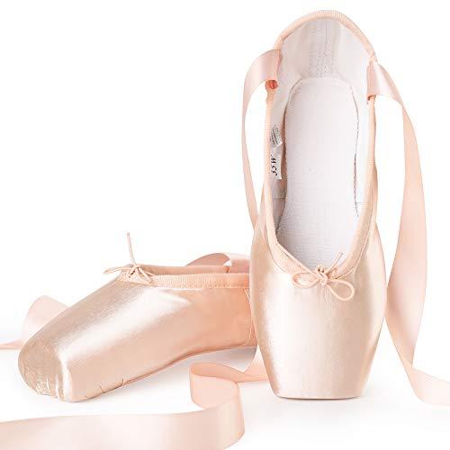 Zapatos de Punta Satén Zapatillas de Ballet con Puntera de Gel de Silicona y Cintas para Mujeres y Niñas