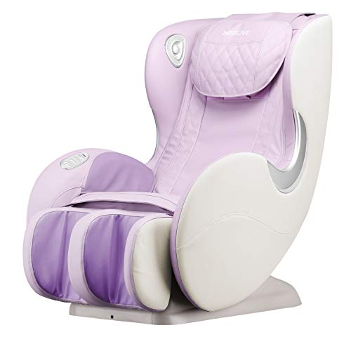 BOSSCARE Small Massage Chairs SL Track Full Body Massage Recliner, Shiatsu Recliner, Space-Saving Design, Zero Gravity, Bluetooth Speaker (Light Purple GR8526 LED)