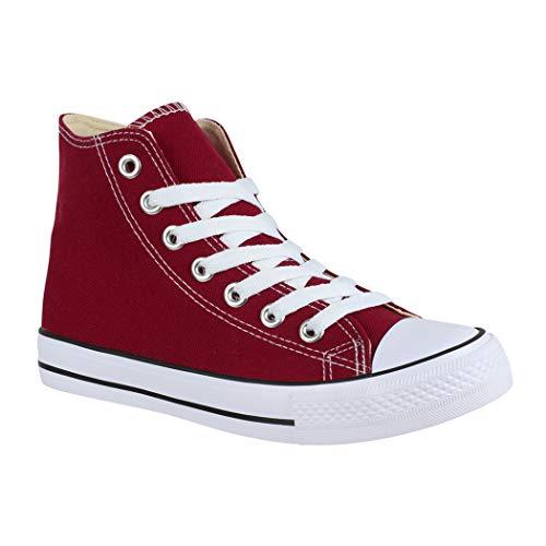 Elara Unisex Sneaker Sportschuhe für Herren Damen High Top Turnschuh Textil Schuhe B177-Wine014-38