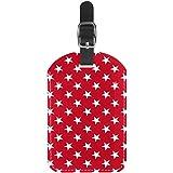 Etiquetas para equipaje con diseño de estrellas, color blanco, fondo rojo, para maleta de viaje, 1 paquete