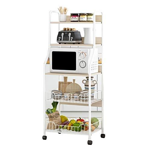 XCZW Küchenregal Küchenregale Mikrowellenherd Storage Rack Boden Mehrschichtige Movable Storage Rack mit Rollen (Color : White, Size : 21x12.6x56inch)