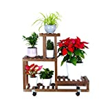 FOLDIFY Wood Plant Stand with Wheels 4Tier 7Potted Indoor&Outdoor Multi-Layer Rolling Plant Stand Rack Higher and Lower Planter Display Shelving for Patio Garden Corner Balcony and Living Room