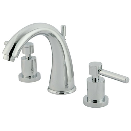 Kingston Brass KS2961DL Concord Widespread Lavatory Faucet with Metal lever handle, 7-Inch Spout Reach, Polished Chrome