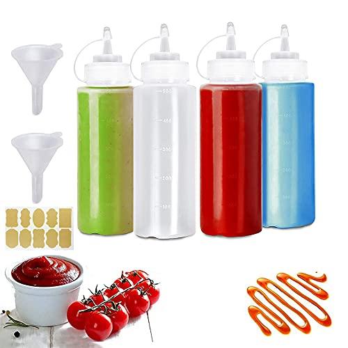 WJMY Squeeze Bottle Biberon Cocina Salsa 500ml Transparente con Tapa Ninguna Fuga, Sin BPA, para Condimentos(4 Piezas)