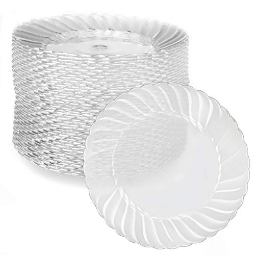 100 Premium Clear Plastic Plates for Dinner Party or Wedding - 7 Inch Fancy Disposable Plastics Plates with Scalloped Edges