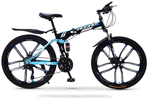 PARTAS Advanced Riders, Mountain Bike Folding Bikes, 30-Speed Double Disc Brake Full Suspension Anti-Slip, Off-Road Variable Speed Racing Bikes for Men and Women (Color : C3, Size : 24 inch)