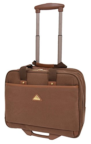 Pilot Case Wheeled Briefcase Camel Faux Suede Business Travel Cabin Bag Hand Luggage - Stargazer