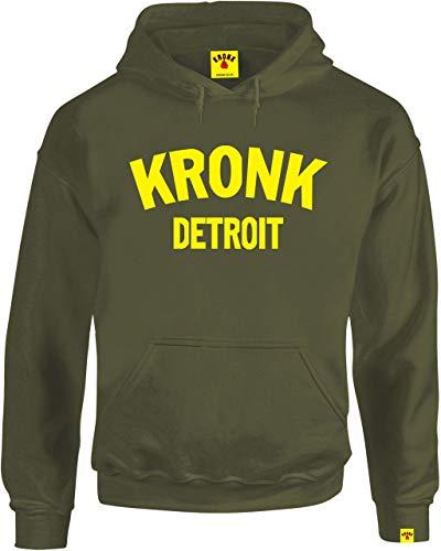 Kronk, Felpa Detroit con cappuccio, da uomo, vestibilità regolare Verde militare M