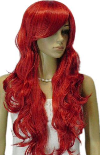 Qiyun Longue Big Waves Ondule Bright Rouge Ramp Frange Synthetique Cheveux Cosplay Costume Anime Complete Perruque