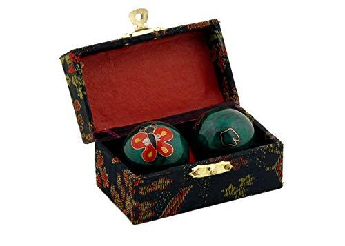 QiGong Klangkugel 1 Paar mit Klangwerk, Meditation Kugel, Yin Yan, Qi-Gong-Kugel 1 Paar Ø 3,5 cm