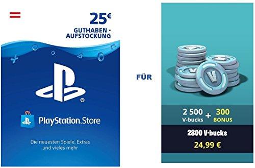 PSN Guthaben für Fortnite - 2.500 V-Bucks + 300 extra V-Bucks - 2.800 V-Bucks DLC | PS4 Download Code - österreichisches Konto