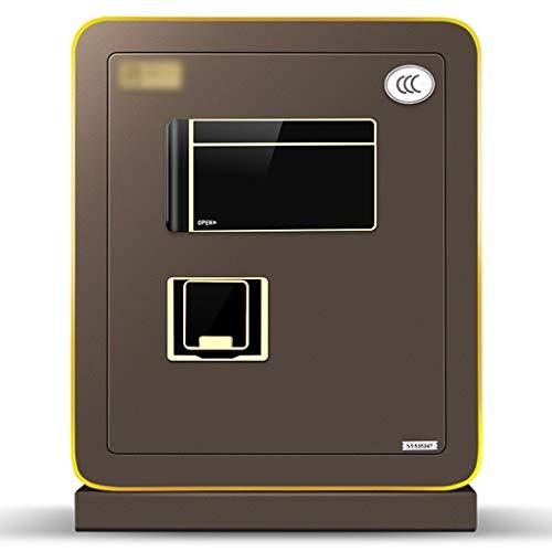 HttKse Tresore Fingerabdruck-Password Safe Schmuck Safe Domestic Kleine Ganzstahl-Passwort Wandnachttisch 50cm Hochsicherheits-Burglarproof Box (Color : Brown, Size : 35 * 39 * 50cm)