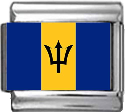 Stylysh Charms Barbados Barbadian Flag Photo Italian 9mm Charm PC015 Fits Nomination Classic