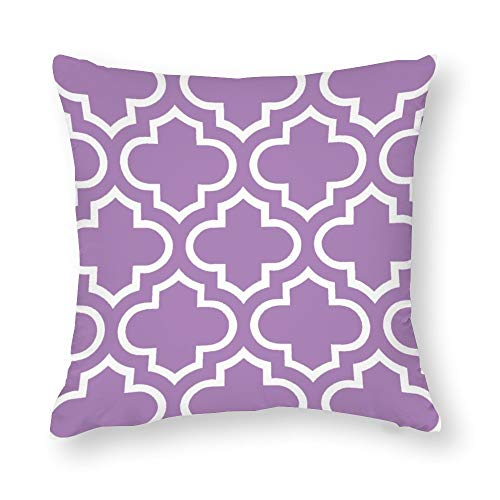 Moroccan Pattern in African Violet Throw Pillow Covers Case Cushion Pillowcase with Hidden Zipper Closure for Sofa Home Decor 16 x 16 Inches
