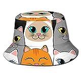 Lawenp Gatos Ginger Siamese Kittens Bucket Hat Unisex Plegable Summer Travel Bucket Boonie Sun Hat Gorra de Pescador al Aire Libre