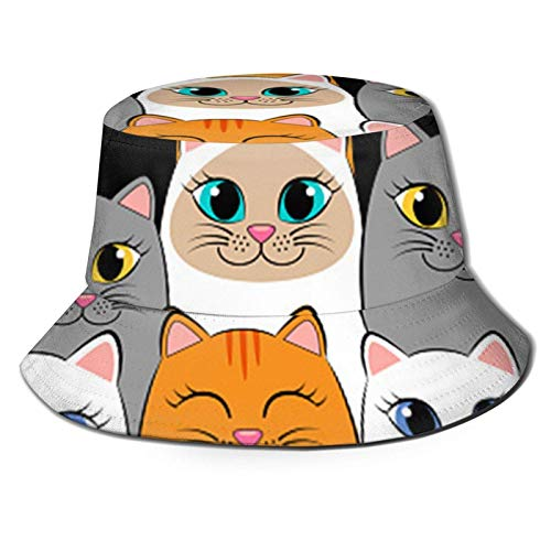 Lawenp Gatos Ginger Siamese Kittens Bucket Hat Unisex Plegable Summer Travel Bucket Boonie Sun Hat Gorra de Pescador al...