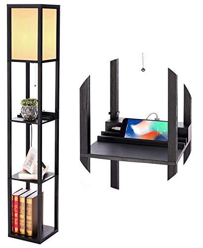 PROMECITY Estantería Lámpara de Piso con Puerto de Carga USB,Torre de Estantes de Almacenamiento para Dormitorio, Lámpara de Pie Moderna y Mesa de Noche