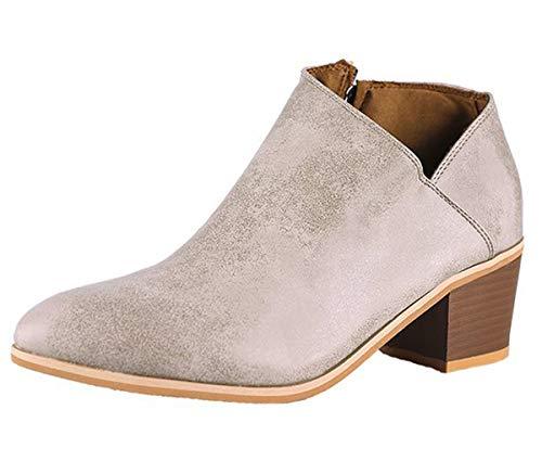 Minetom Damen Stiefeletten Frühling Herbst Mode Zipper Blockabsatz Shoes Booties Chelsea Stiefel Casual Schuhe Aprikose EU 36