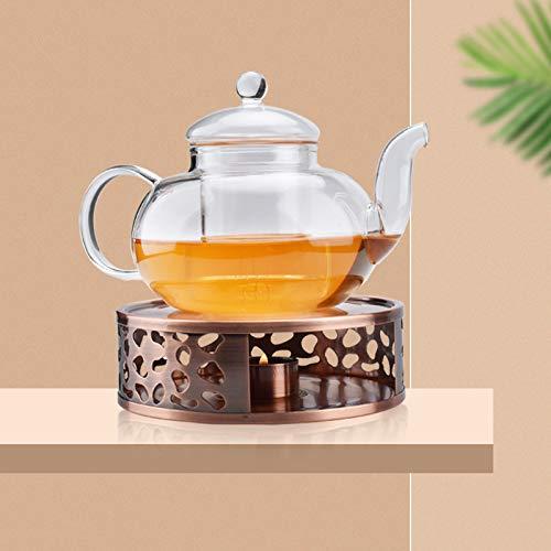 Queta Teewärmer Kaffee Stövchen aus Edelstahl, Teekanne Stövchen mit Teelichthalter Tee-Basis und Edelstahlpinzette (Typ3)