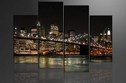 Schilderij - New York, 130X80cm, 4 luik - Canvas - Muurdecoratie
