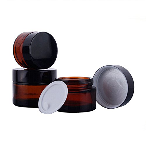 TOPWEL 30ML(1 OZ) Amber Glass Empty Refillable Cosmetic Cream Jar Pot Bottle Container (2pcs) by TOPWEL
