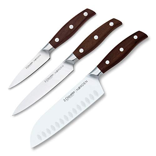 3 Claveles - Juego de 3 Cuchillos Profesionales en Acero Inoxidable Gama...