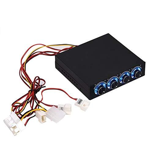 VBESTLIFE 4-Kanal-Computer-Lüfter, Drehzahl- & Temperaturregler, zur Wärmereduzierung, für PC-Desktop, mit blauer LED.