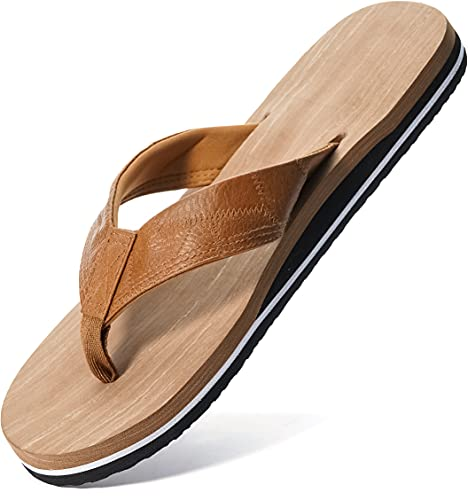 WHITIN Flip Flop for Men Althetics Thong Sandals Toe Post Comfort Sandalias para Hombres Slippers Beach Fishing Size 8.5 Indoor Shower Stylish Flat Footwear Brown 42