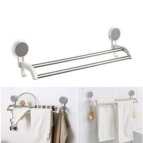 """19"""" Bath Double Towel Bar with Hooks - Stainless Steel Tube Bathroom Towel Holder, No Drill Wall Mount Towel Rack"""