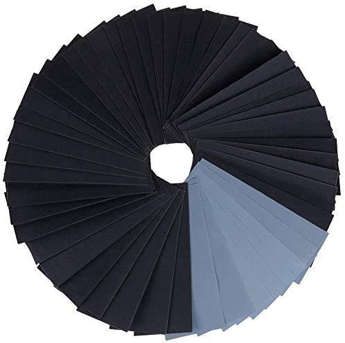 Zacro 51 Pcs de Papel de Lija,120 a 3000 Grit Surtido Papel Lija, de 9x3.6'' para lustramuebles de madera, metal de lijado y abrillantar coche
