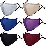 PAGE ONE Unisex Cotton Cloth Face Masks Reusable Washable,Anti-Fog Dust-Proof Face Mask/6PC